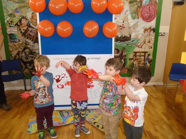 Look at our huge orange dinosaur!