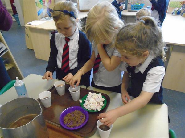 Yummy hot chocolate to warm us up!