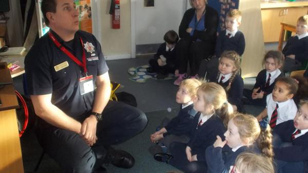 Firefighter, Mr Scott, visits Reception