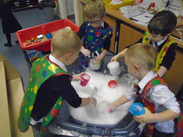 Making hot chocolate with lots of bubbles!