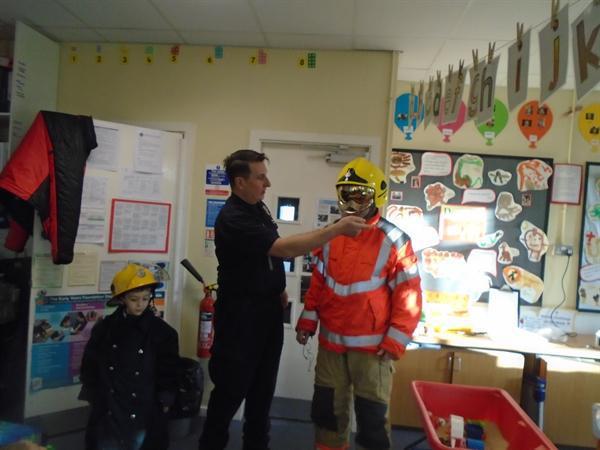 Mr Hagan & Simon tried on Mr Scott's uniform
