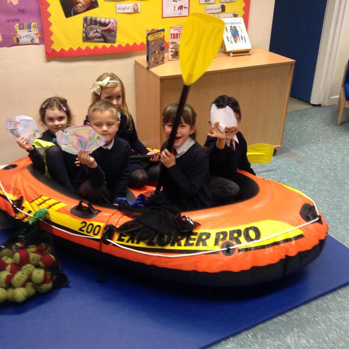 Jesus and the disciples in the boat.