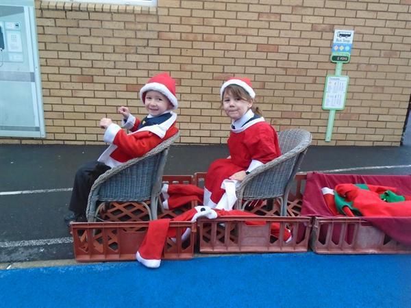 We're delivering presents for Santa!