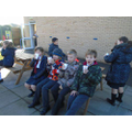 Year 6 children enjoying lovely Tomato Soup