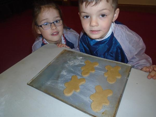 We made gingerbread men biscuits this week!
