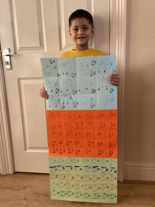 Wow!! Sufyan raised a fantastic £178 by drawing 100 helicpters!