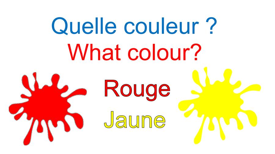 Rouge = pronounced Roo-je     Jaune = pronounced jz-on