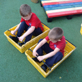 Crates turned into go karts!
