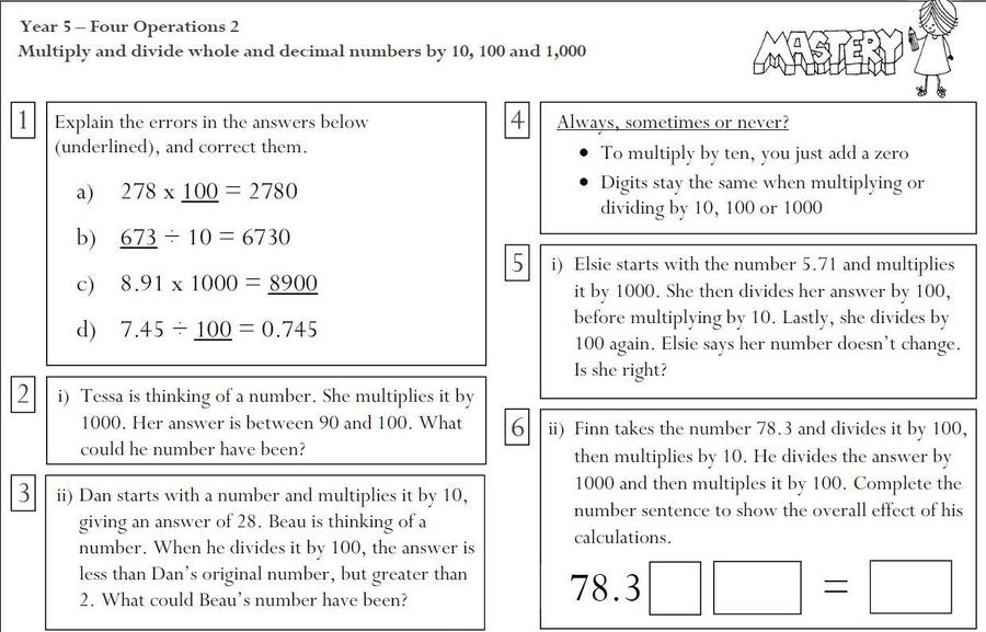 Multiply and Divide by 10, 100 and 1000