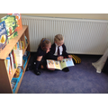 Sharing a story in the reading area