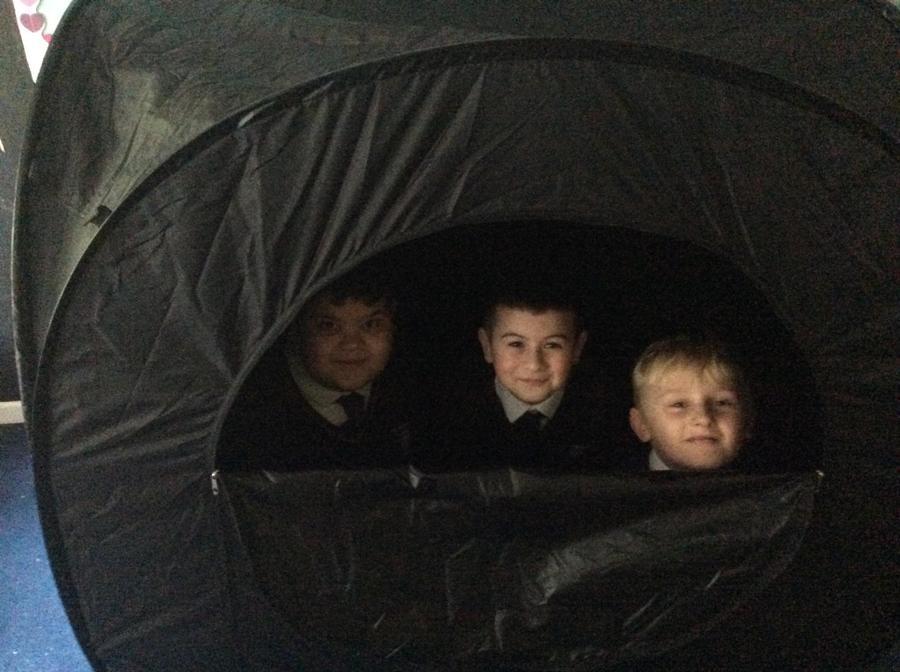We explored a dark tent