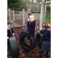 Playing in the adventure playground