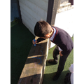 Drawing with chalk in our Outdoor Classroom