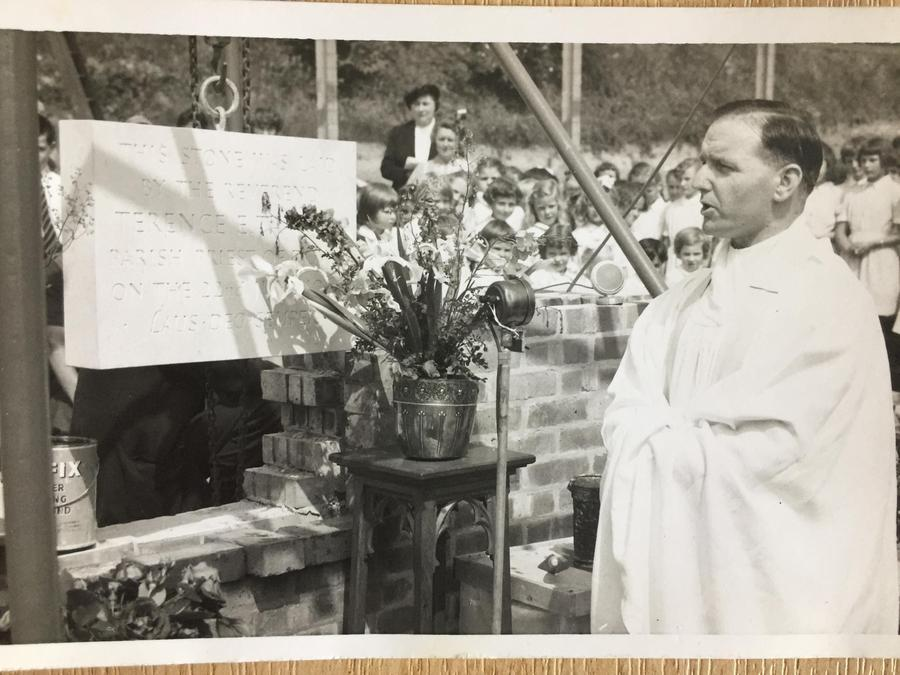 Reverend Tanner laying the foundation stone