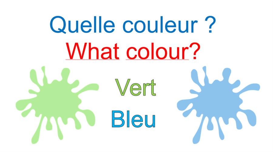 Vert = pronounced v-air        Bleu= pronounced ble