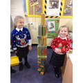 Building big towers on Christmas Jumper Day