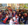 For our 10:10 treat, we had a superhero and pyjama dress up day, with a popcorn party!