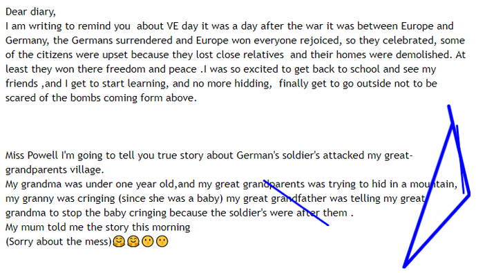 Lora's VE Day diary.PNG