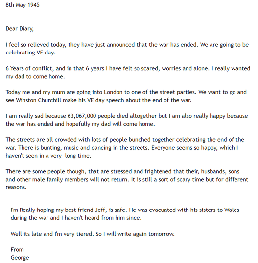 George's VE Day diary.PNG