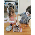 Letty and her brother making rocky road! Yum!