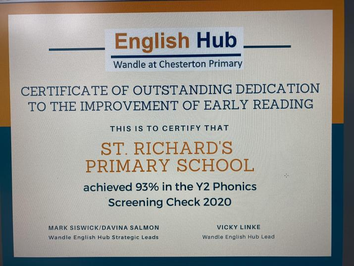 Certificate Of Outstanding Dedication to the Improvement of Early Reading