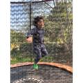 Kiarn enjoying outdoor time on his trampoline!