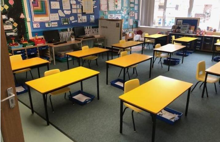 The socially-distanced Year 2 Classroom