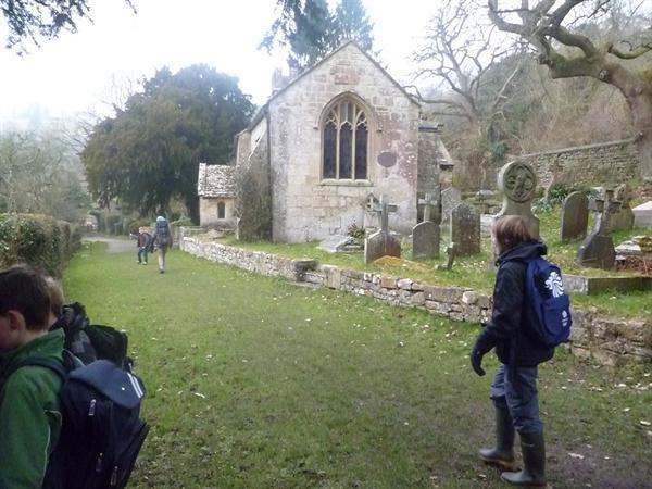 walking into Charlcombe Church