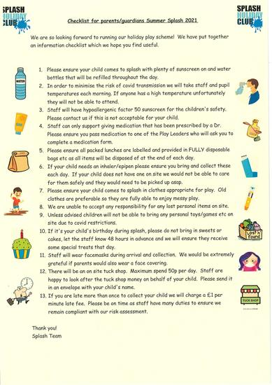 Splash Checklist for Parents