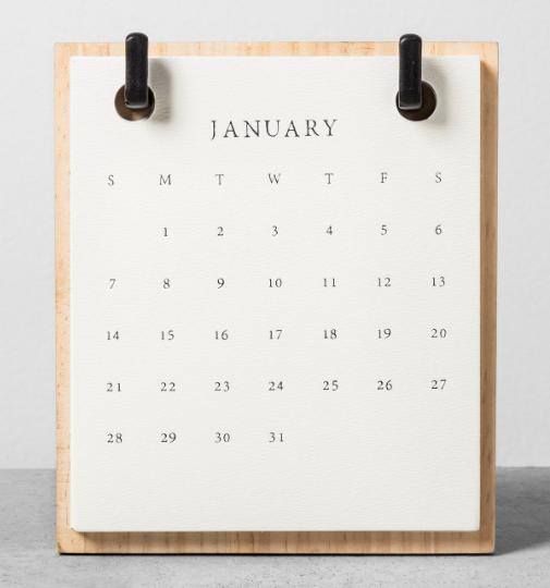 Calendar: Days of week, days in a month.
