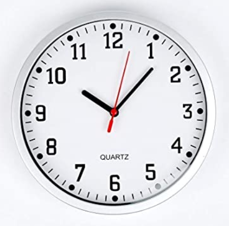 Telling the time on an analogue clock.