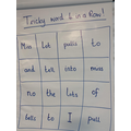 Tricky word 4 in a row in phonics