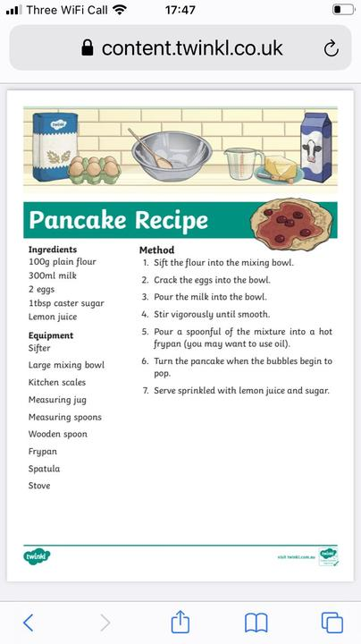 a simple pancake recipe for you
