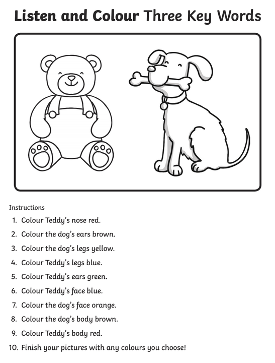 Can you follow the instructions carefully to colour in the bear and dog?
