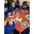 Painting for our class hall display on the value LOVE