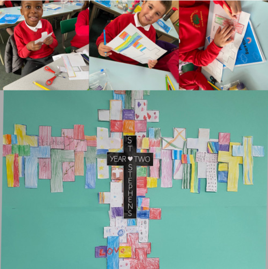 A lovely activity where we decorated 2 crosses to make one large class cross!