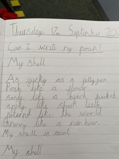 We wrote poetry using similes and expanded noun phrases!