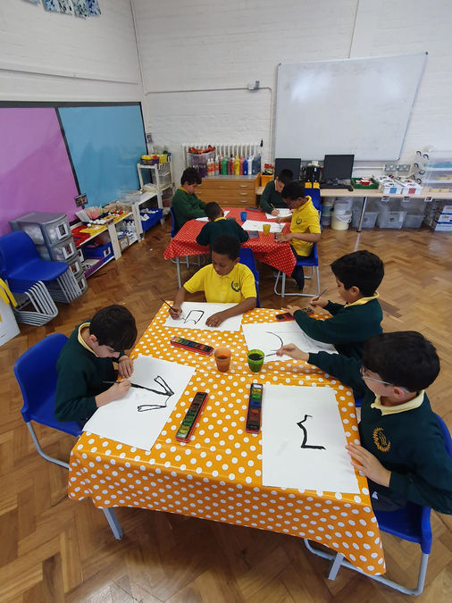 Year 4 were using the make, create and investigate classroom for their art lesson.