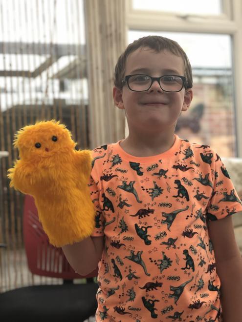 Isaac's duck puppet