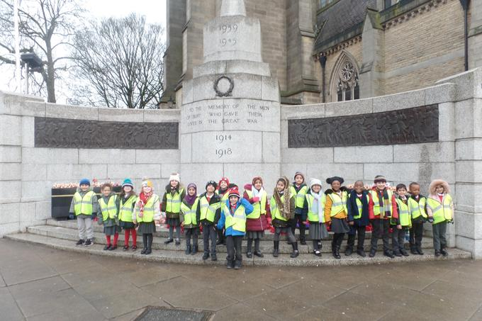 Year 1 visiting the Cenotaph.