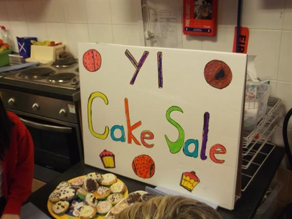We made a big poster for our cake sale.