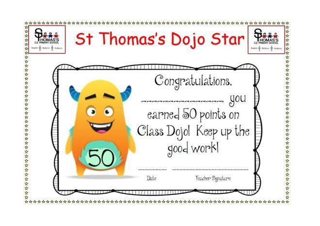Certificate for 50 Dojo points!