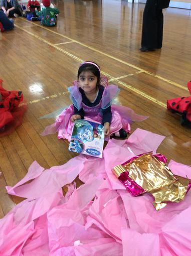 Anila won the pass the parcel.