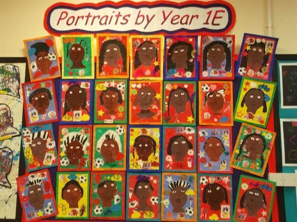 Year 1E's portraits based Frida Kahlo's work
