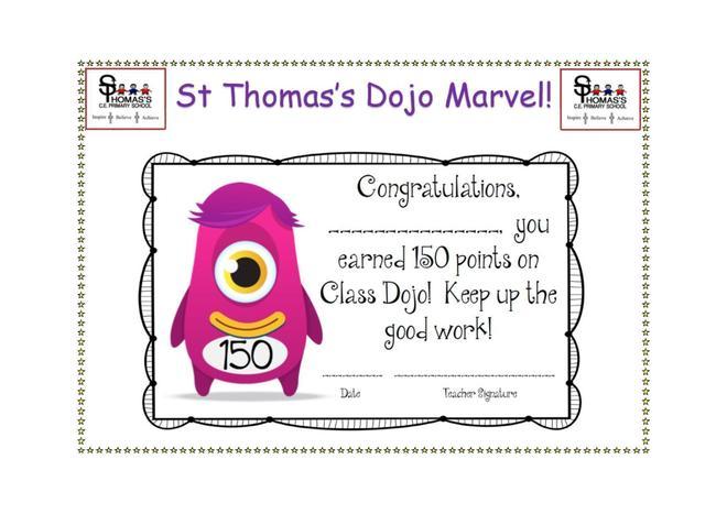 Certificate for 150 Dojo points!