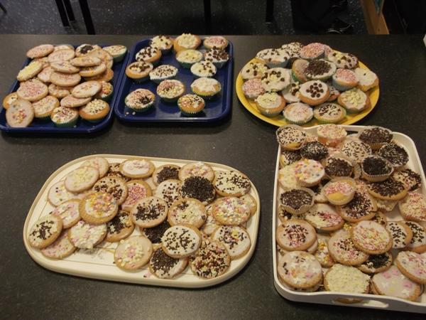 We made cakes and decorated biscuits and cakes.