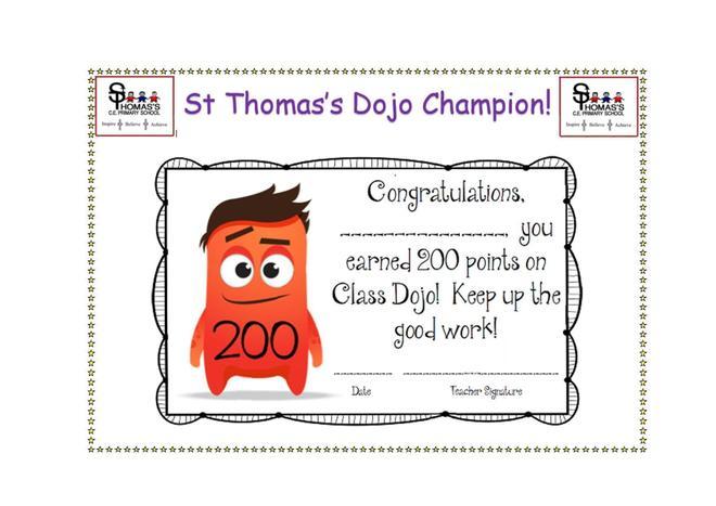 Certificate for 200 Dojo points!