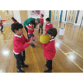 We practised our throwing and catching skills,