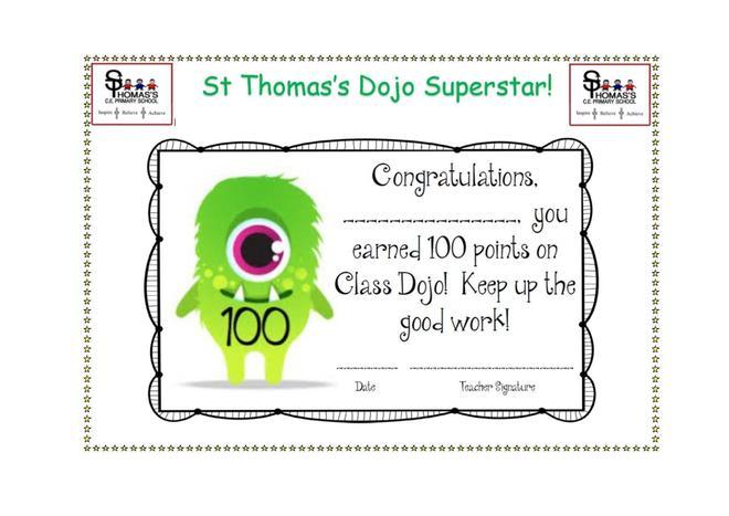 Certificate for 100 Dojo points!