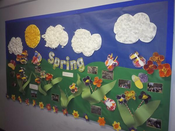 Spring display by EYFS